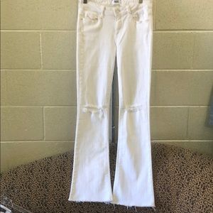 Paige distressed frayed white jeans